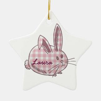gingham bunny for girls ceramic star decoration