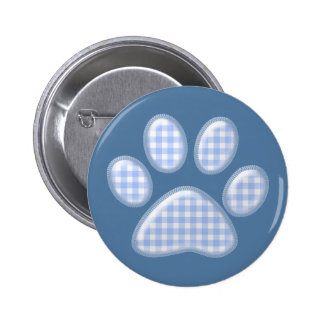 gingham cat paw - blue 6 cm round badge