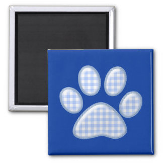 gingham cat paw - blue square magnet