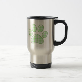 gingham cat paw - green travel mug