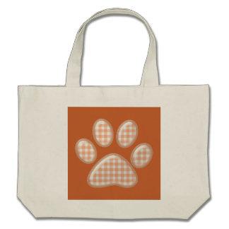 gingham cat paw - orange canvas bag