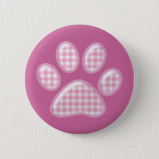 gingham cat paw - pink 6 cm round badge