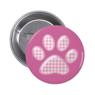 gingham cat paw - pink 6 cm round badge