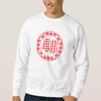 gingham check 48 circular RED Pullover Sweatshirts