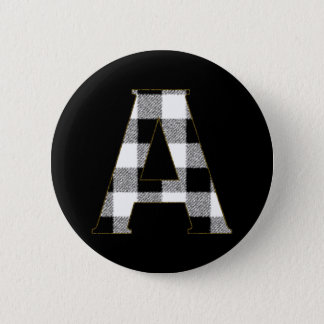 Gingham Check A 6 Cm Round Badge