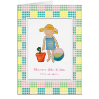 Gingham Check Girl on Beach - 9th Birthday Greeting Card