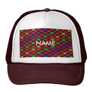 Gingham Check Multicolored Pattern Mesh Hat