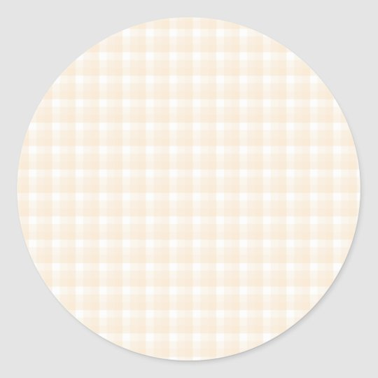Gingham check pattern. Beige and White. Classic Round