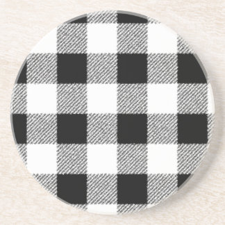 Gingham check pattern black and white coaster