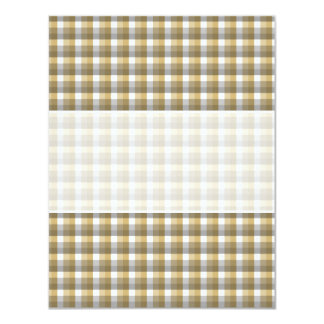 Gingham check pattern. Gray, Brown and White. Card