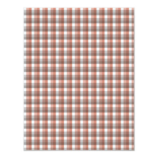 Gingham check pattern. Gray, Red - Brown and White 11 Cm X 14 Cm Invitation Card