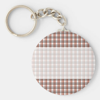 Gingham check pattern. Gray, Red - Brown White Key Ring