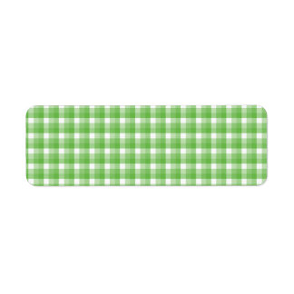 Gingham check pattern. Green and White. Return Address Label