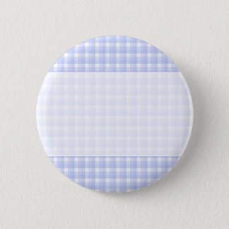 Gingham check pattern. Light Blue & White. 6 Cm Round Badge