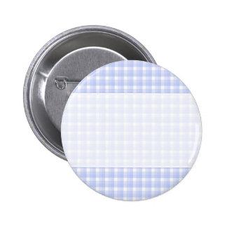 Gingham check pattern. Light Blue & White. 6 Cm Round Badge