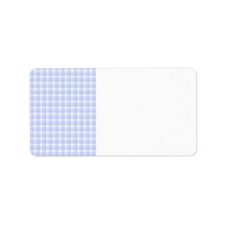 Gingham check pattern. Light Blue & White. Label