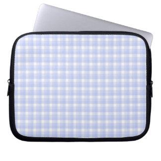 Gingham check pattern. Light Blue & White. Laptop Sleeve