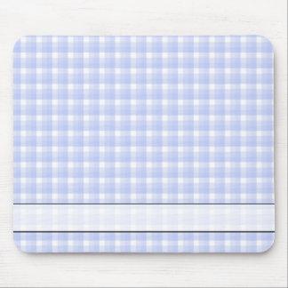 Gingham check pattern. Light Blue & White. Mouse Mat