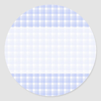 Gingham check pattern. Light Blue & White. Round Sticker
