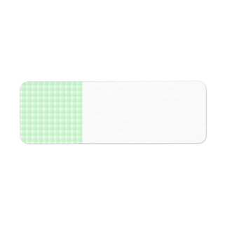 Gingham check pattern. Light Green and White. Return Address Label