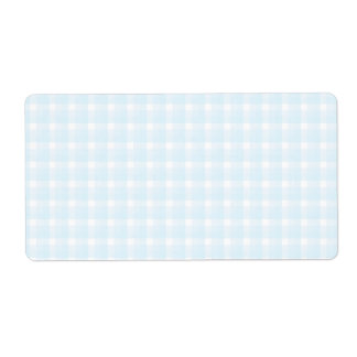 Gingham check pattern. Pale Blue and White. Shipping Label