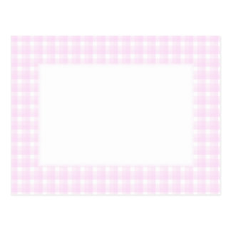 Gingham check pattern. Pale pink and white. Postcard