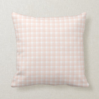 Gingham check pattern. Peach pink and white. Cushion