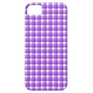 Gingham check pattern. Purple and White. Case For The iPhone 5