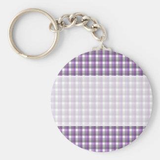 Gingham check pattern. Purple, Gray, White. Key Ring