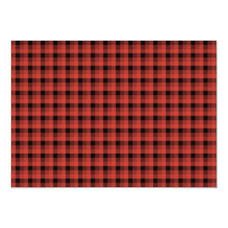 Gingham check pattern. Red and Black Plaid 13 Cm X 18 Cm Invitation Card