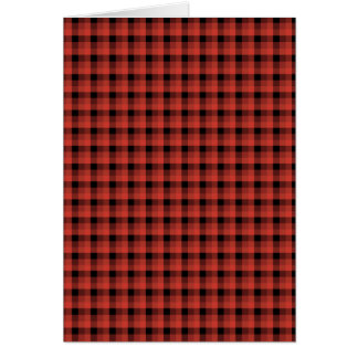 Gingham check pattern. Red and Black Plaid Note Card