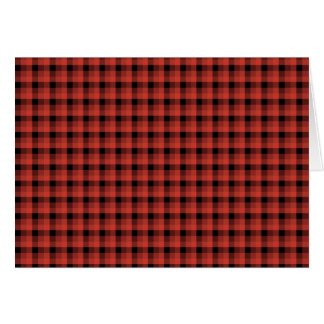 Gingham check pattern. Red and Black Plaid Greeting Card