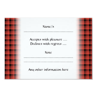 Gingham check pattern. Red and Black Plaid. 9 Cm X 13 Cm Invitation Card