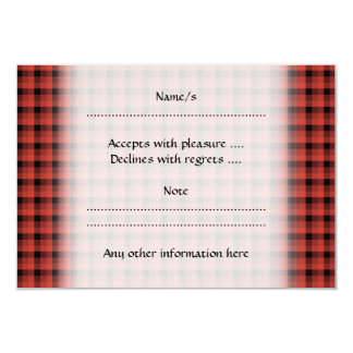 Gingham check pattern. Red and Black Plaid 9 Cm X 13 Cm Invitation Card