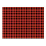 Gingham check pattern. Red and Black Plaid Postcard