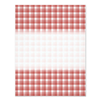 Gingham check pattern. Red and White. 11 Cm X 14 Cm Invitation Card