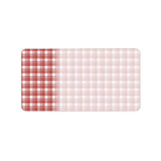 Gingham check pattern. Red and White. Address Label