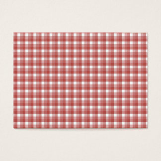 Gingham check pattern. Red and White. Business Card