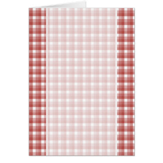 Gingham check pattern. Red and White. Greeting Card
