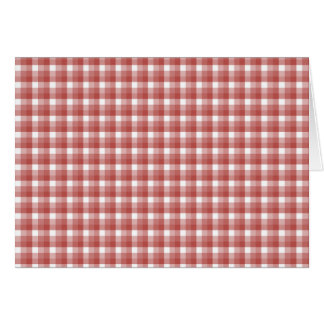 Gingham check pattern. Red and White. Note Card