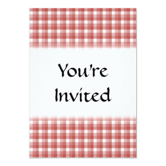 Gingham check pattern. Red and White. 13 Cm X 18 Cm Invitation Card