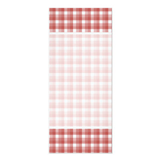 Gingham check pattern. Red and White. 10 Cm X 24 Cm Invitation Card
