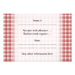 Gingham check pattern. Red and White. Personalized Invitation