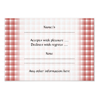 Gingham check pattern. Red and White. 9 Cm X 13 Cm Invitation Card