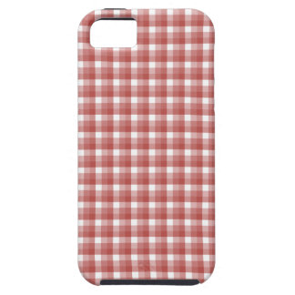 Gingham check pattern. Red and White. iPhone 5 Case