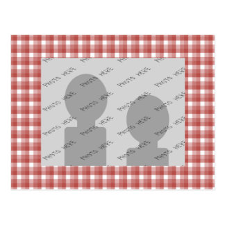 Gingham check pattern. Red and White. Postcard