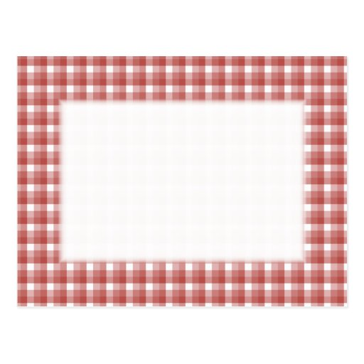 Gingham check pattern. Red and White. Postcards