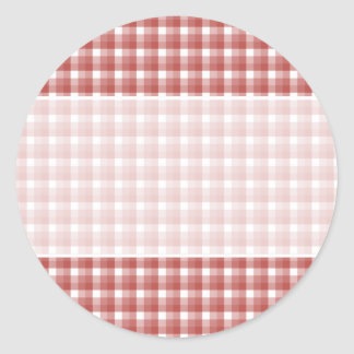 Gingham check pattern. Red and White. Round Sticker