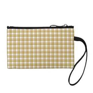 Gingham check pattern. Tan and White. Coin Purse