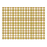 Gingham check pattern. Tan and White. Postcard